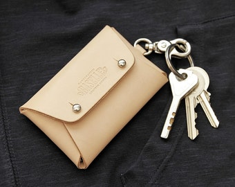 Handmade Natural Vegetable Tanned Leather Wallet Pouch Keyring Business Card Holder