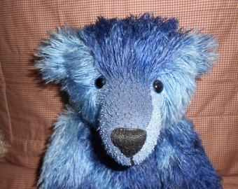 "Collectors' Bear - Mohair Blue Batik Teddy Bear - OOAK - 17"""