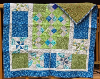 Toddler Quilt / Cotton Quilt / Blue Green Quilt / Pinwheel and Diamond Quilt / Handmade Quilt / Heirloom Quilt
