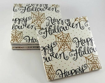 Happy Halloween Coasters – Halloween Coasters – Drink Coasters – Halloween Decor – Ceramic Coasters – Housewarming Gift – Tile Coasters