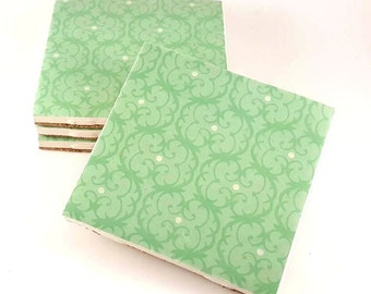 Mint Damask Coasters - Drink Coasters - Ceramic Tile Coasters - Ceramic Coasters - Wedding Shower Gift - Tile Coasters - Housewarming Gift