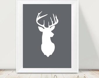 Printable art deer - Deer print - Wild -  digital prints - nursery printable - instant download - modern print - wall prints