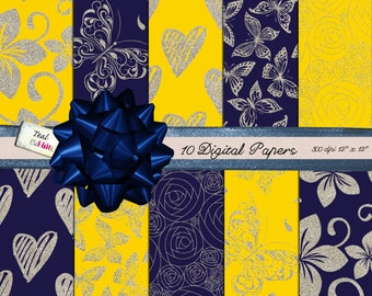 10 Digital Papers with Silver Glitter Patterns Hearts Flowers Butterflies in Sunny Yellow and Navy Blue for Digital Scrapbooking