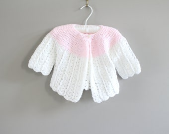 Hand Knitted Baby Girl Cardigan Size 3 to 6 M #k001a