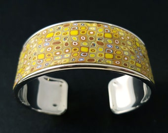 """KLIMT"" silver and yellow Cuff Bracelet"