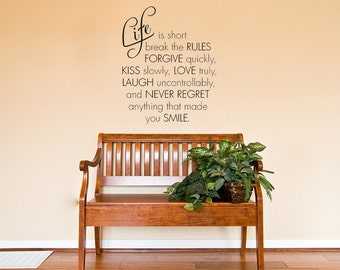 "Inspirational Wall Quote  ""Life Is Short.."", Wall Art Sticker, Vinyl Decal, Modern Transfer."