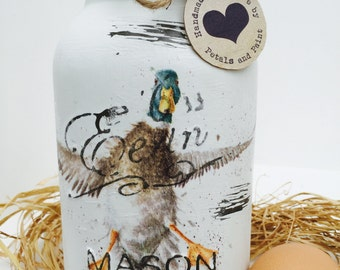 Handmade Mason Jar Duck Waddle and Quack