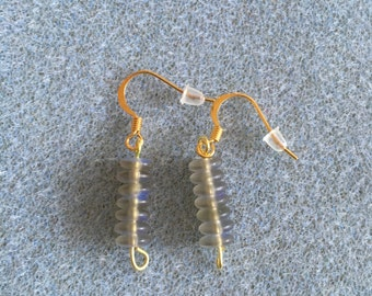 smokey glass short drop earrings