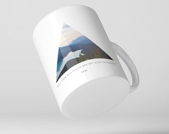 """Rumi Mountain Triangle Coffee Mug,  Quote - """"Sell your cleverness and buy bewilderment."""" Spiritual, Nature, Yoga, Buddhism"""