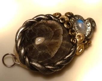 Pendant with Rainbow Moonstone & Black Moon stone, 44 mm, pendant, polymer clay black and rainbow amethyste