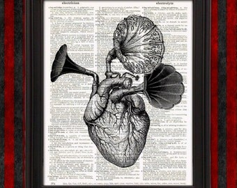 Music comes from the Heart - Anatomical Heart with Antique Gramophone Horns Steampunk Wall Art weird stuff home decor musician gifts for her