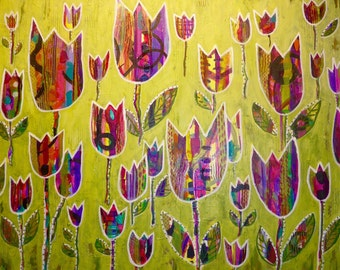 "ORIGINAL Abstract Acrylic Painting LARGE Green and Purple 24 x 30 Handmade ""In My Garden"""