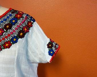 Veronica Prida Hand Embroidered White Guatemalan Blouse Multicolored Trim