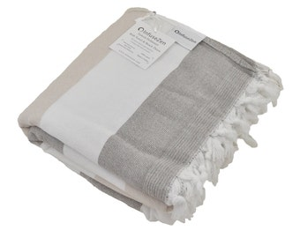 Turkish Towel with Soft Terry Cloth Backing, Luxurious Bath Towel, Beach Towel or Fitness Towel, White, Beige and Tan Modern Peshtemal