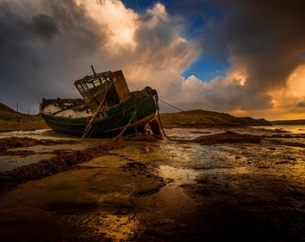 Last Voyage, shipwreck, ship, Ireland, Donegal, sea, sky, rain shore, seascape
