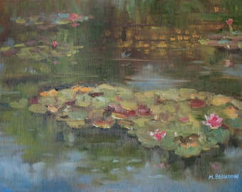 Lily Reflections Oil Painting 9x12