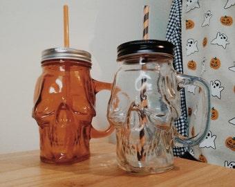 Glass Skull Mason Jar