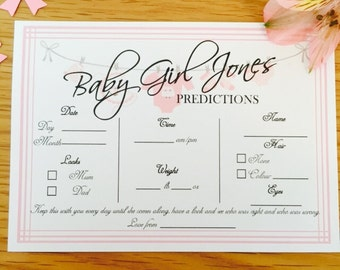 Personalised Baby Shower Prediction Cards
