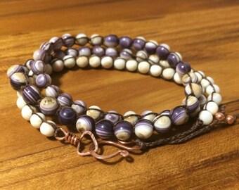 Tricolor Wampum Triple Wrap Bracelet / Necklace