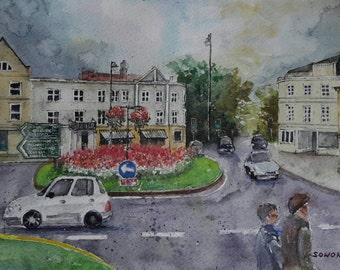 "Original watercolour painting/cityscape/English town/Cheltenham/""Afternoon walk"""