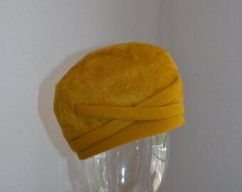 Adolfo II mustard fur felt hat