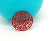 4 Estampes breloques 20mm métal filigrané fin  motif fleur