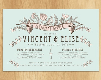 Mint and Floral Whimsical Wedding Rehearsal Dinner Invitation