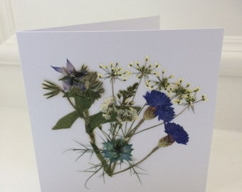 Greetings Card, Pressed Flower Card, Blank inside, Unique, Homegrown - a card for any occasion, using flowers I have grown and pressed