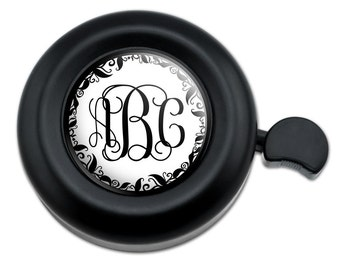Personalized Custom Bicycle Handlebar Bike Bell - Monogram Fancy Vine