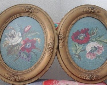 Pair of Beautiful Framed Needlepoint