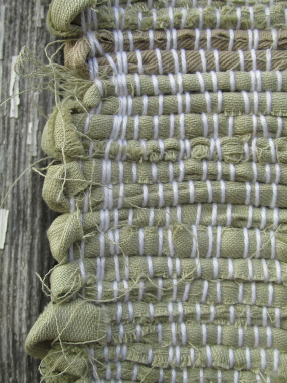 Dusty Sage Green And Tan Woven Rag Rug 33x 27