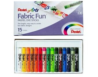 Pentel Fabric Fun Pastel Dye Stick 15 Pcs Color Crayon Fabric Paint Design   Kids Art Craft Colour Draw