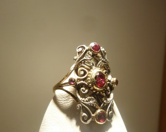 Ruby and diamond antique style ring