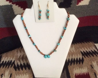 Turquiose, Ceder Beads Necklace with matching Ear Rings