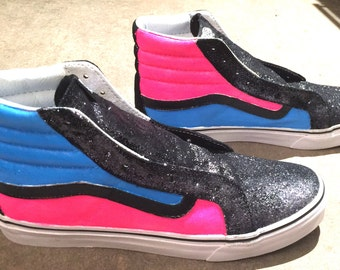 Custom Hand Painted Vans Shoes Neon Pink Blue Glitter Metallic Paint Metal Silver