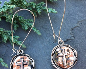 Silver Cross Coin Earrings