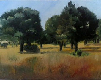 At the foot of the Albères-2, oil on canvas - original work - figurative painting