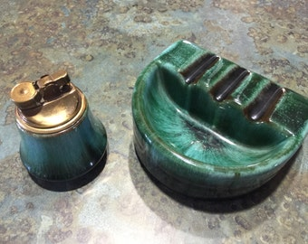 Vintage Redware Pottery Made in Canada Cigarette Lighter and Matching Ashtray 1950 Era