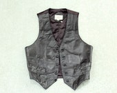 1970s black leather vest . mens small leather vest, black 70s biker vest SALE . size 40