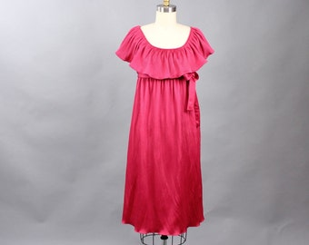 1970s prom dress . micro pleated dress in raspberry magenta . mid length caped dress with empire waist, great maternity dress size small