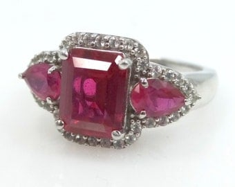 Beautiful Sterling Diamonds & Synthetic Rubies Ladies Size 7 1/4 Ring