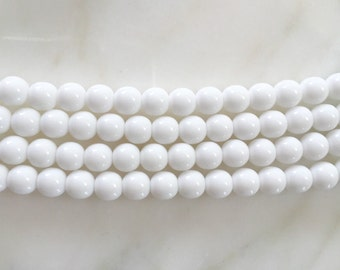 8mm White Czech Glass Round Beads