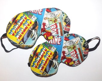 Captain America  Comic Book Page Sleep Mask - Comes as Shown - Handmade - Fits Kids to Adults