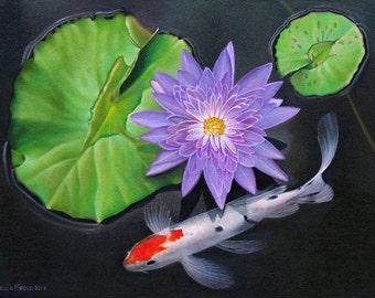 Baby Koi Fish Purple Waterlily Water Garden Giclee print by Leslie Macon