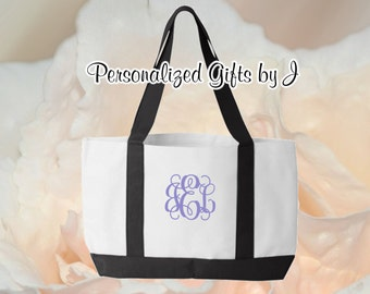 2 Personalized Monogrammed Bridesmaid Gift Tote 2 tone- Bridesmaid Gift- Personalized Bridemaid Tote - Wedding Party Gift - Name Tote-