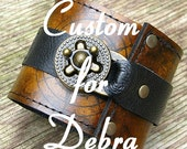 CUSTOM for DEBRA - Steampunk Leather Wrist Wallet Cuff- World Map Traveler