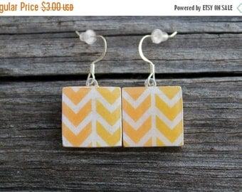 SALE REDUCED Yellow Arrow Print Wooden Tile Earrings