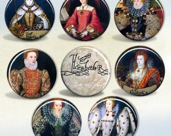 Elizabeth I of England Set of 8 badges pin back buttons