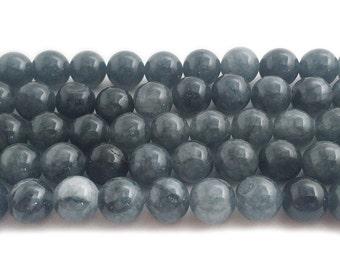 Dark Slate Jade Round Gemstone Beads