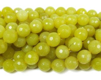 Olive Jade Faceted Gemstone Beads